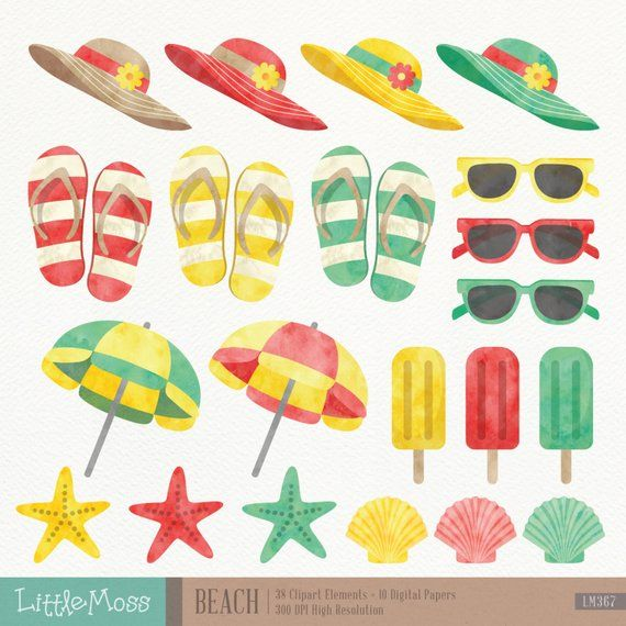 Flip flops watercolor clipart graphic transparent library Beach Digital Clipart and Papers, Watercolor Beach Clipart, Summer ... graphic transparent library