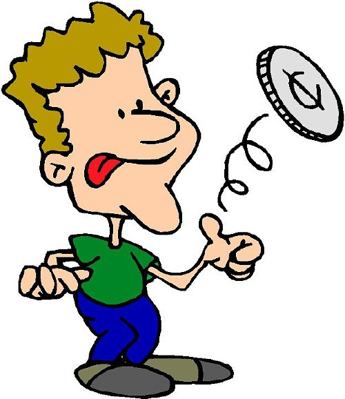 Flipping a coin clipart