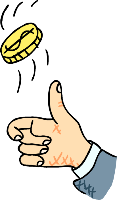 Hand flips in heads. Flipping a coin clipart