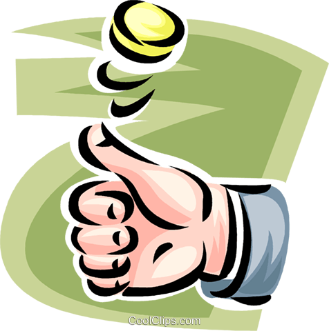 Flipping a coin clipart. Hand royalty free vector