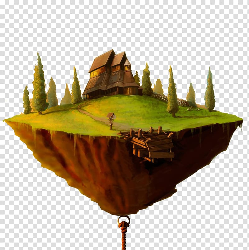 Floating island clipart hd transparent library Green and brown floating island illustration, Floating island Castle ... transparent library