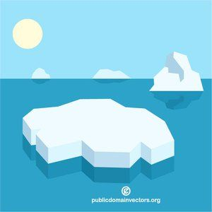 Floating vector clipart banner black and white Ice floating on the sea vector image #publicdomain #vectorgraphics ... banner black and white