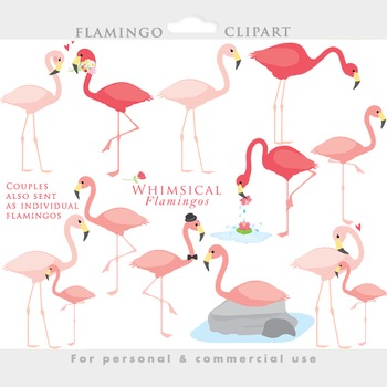 Flock of pigeons and one flamingo clipart. For free download use