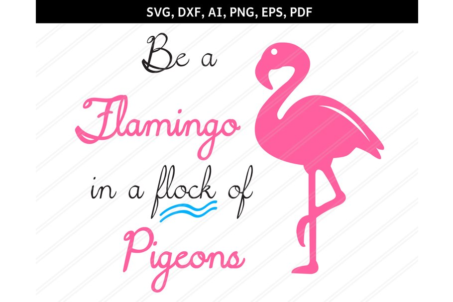 Svg dxf eps pdf. Flock of pigeons and one flamingo clipart