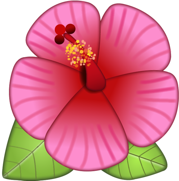 Flower emoji clipart black and white Download Hibiscus Flower Emoji Image in PNG | Emoji Island black and white