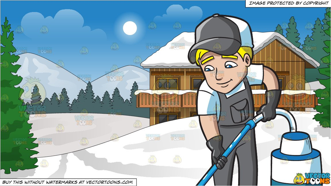 Floor of snow clipart clipart black and white A Man Vacuuming The Floor and Snow Covered Ski Chalet Background clipart black and white