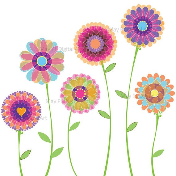 Free clipart for spring flowers clipart royalty free library Spring Flowers Clip Art - Digital Florals Graphic to make Birthday ... clipart royalty free library