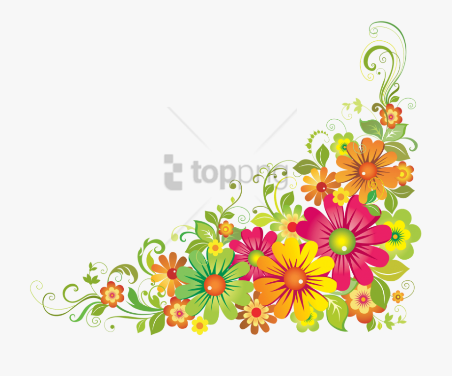 Free png colorful image. Floral corner borders clipart