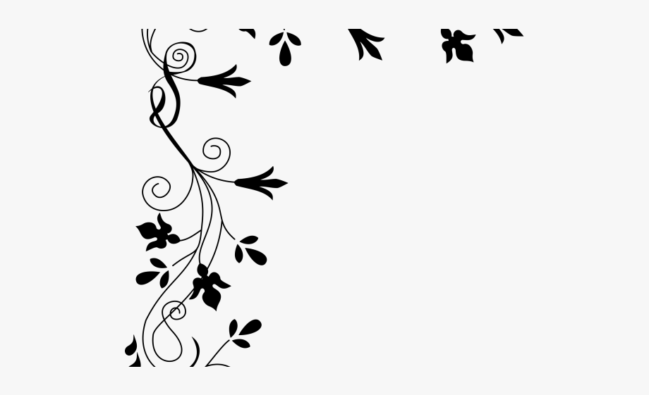 Flowers borders fancy png. Floral border clipart black and white