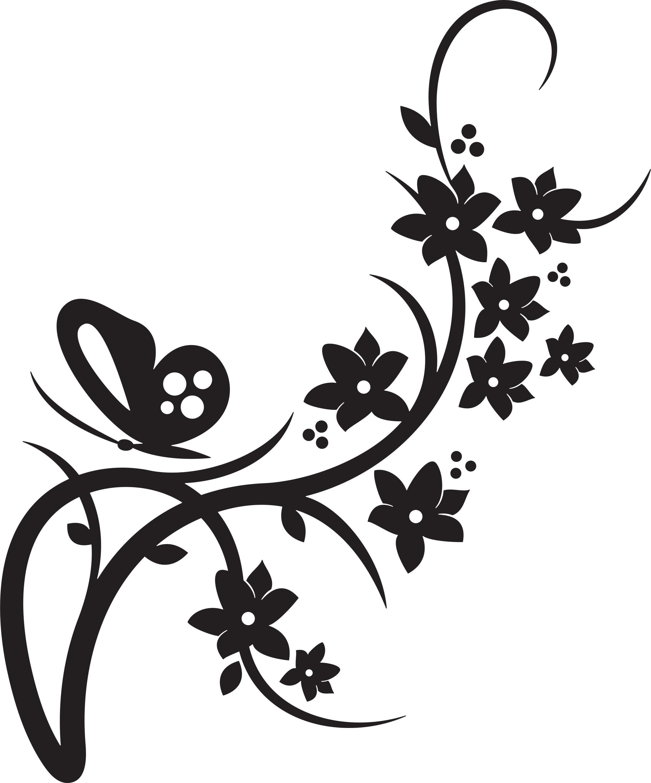 Flower . Floral border clipart black and white