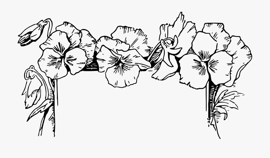 Floral border clipart black and white banner Black And White Flower Border Clipart - Flowers Clipart Black And ... banner