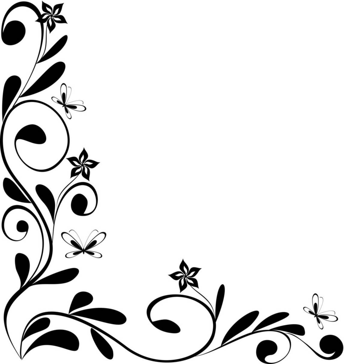 Corner drawings page borders. Floral border clipart black and white