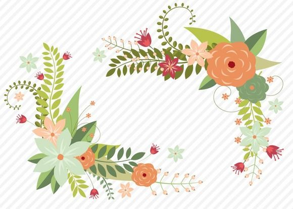 Floral border vector clipart