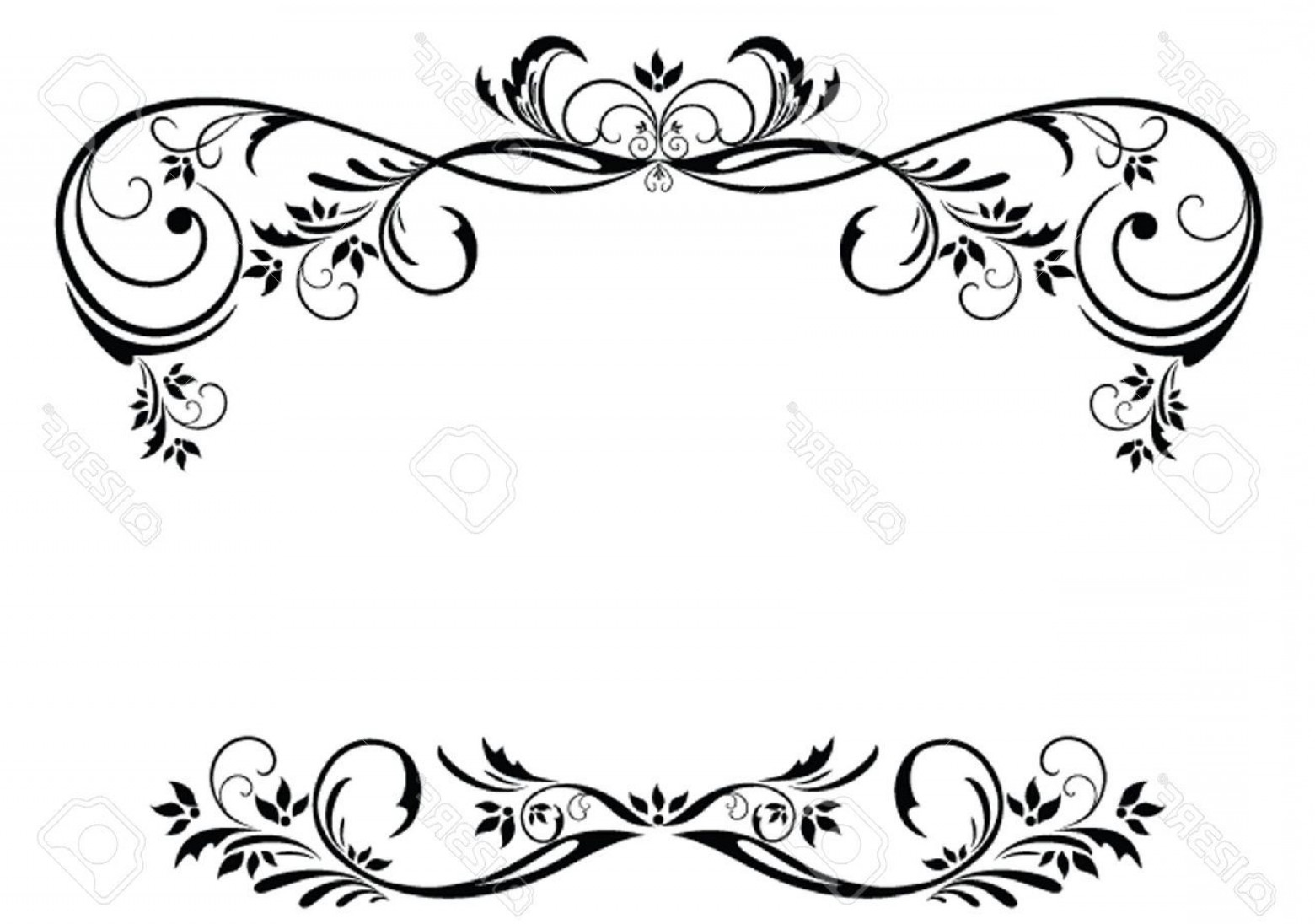 Floral border vector clipart picture royalty free download Vintage Floral Border Vector Free Ff | SOIDERGI picture royalty free download