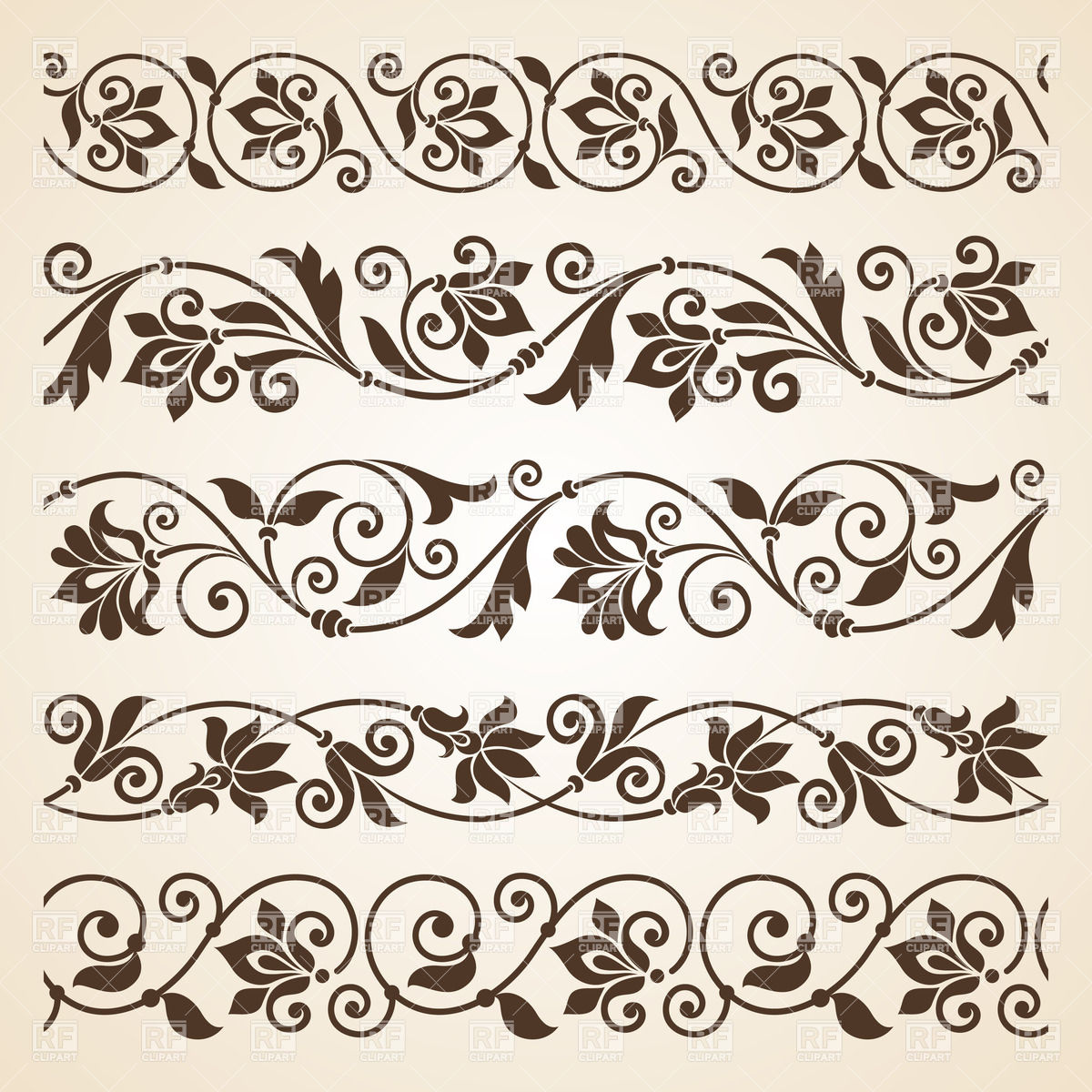 Floral borders free download transparent stock Set of five curly vintage floral borders Vector Image #28595 ... transparent stock