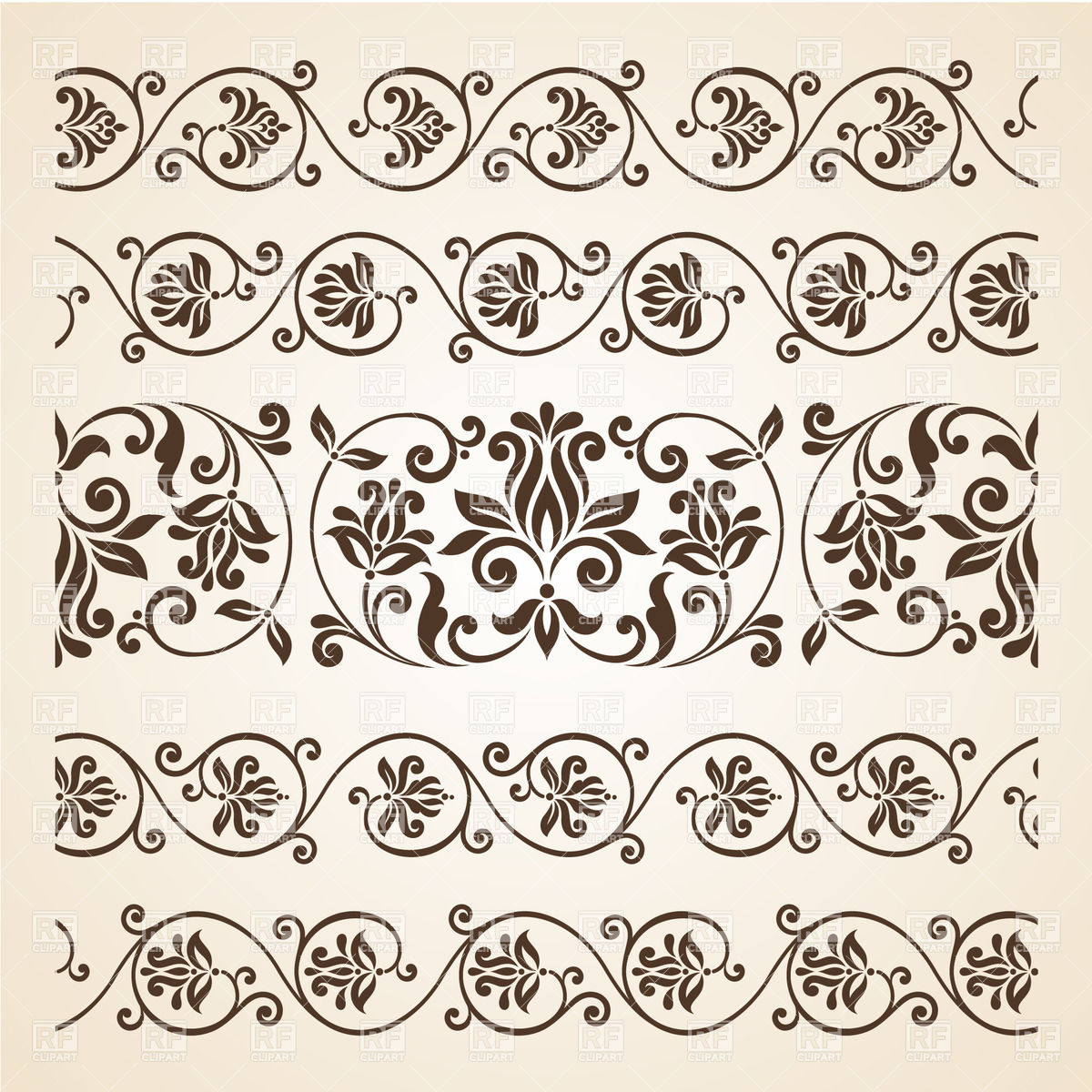 Floral borders free download jpg free stock Collection of vintage floral borders Vector Image #29517 – RFclipart jpg free stock