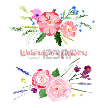 Floral borders images graphic freeuse library Watercolor Floral Borders On White Background Royalty Free ... graphic freeuse library