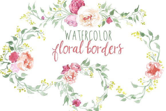 Floral borders images clip art transparent library Watercolor Floral Borders ~ Illustrations on Creative Market clip art transparent library