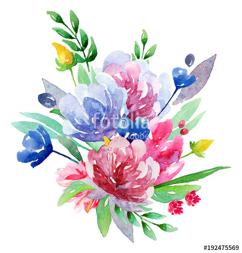 Floral bouquet clipart free banner freeuse library Watercolor floral bouquet clip art. Flowers illustration \