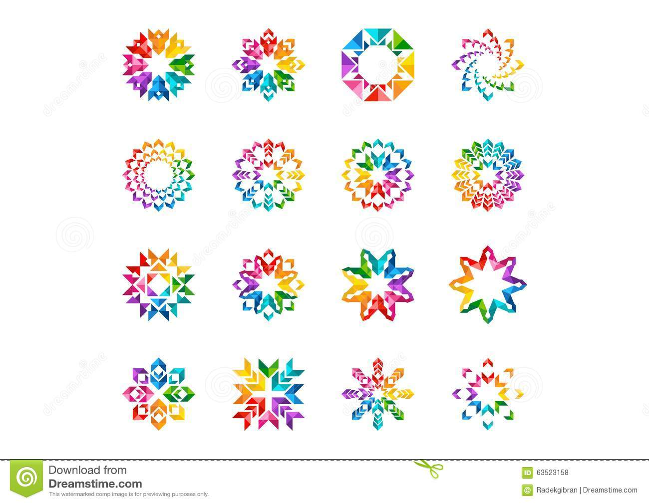 Floral circle arrow clipart image library download Abstract Modern Elements Logo, Circle Rainbow Flowers, Set Of ... image library download