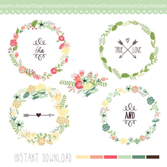 Floral circle arrow clipart banner library Wreaths Floral clipart, Digital Wreath, Floral Frames, Flowers ... banner library