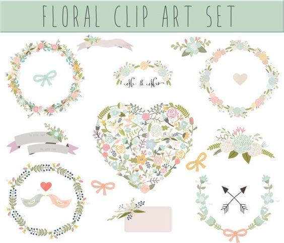Floral circle arrow clipart clip freeuse Wedding Floral clipart, Digital Wreath, Floral Frames, Flowers ... clip freeuse