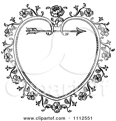 Floral circle arrow clipart svg library library Clipart Black And White Ornate Vintage Floral Heart And Arrow ... svg library library