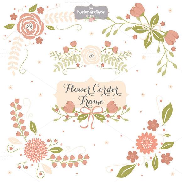 Floral clip art free download png black and white Boda flores guirnalda Clip Art, mano ilustrado Digital flores ... png black and white