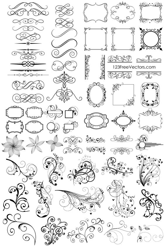 Floral clip art free download svg library download Free Download 65 Floral Decorative Ornaments Vector Pack. Free ... svg library download