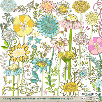 Floral clipart country. Wildflower sunshine flower clip