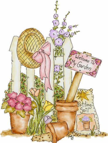 Garden decoupage clip art. Floral clipart country