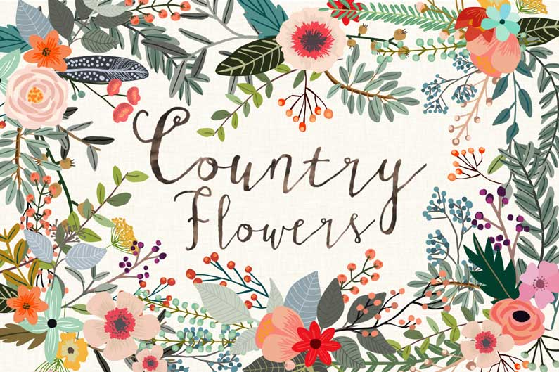 Free flowers cliparts download. Floral clipart country