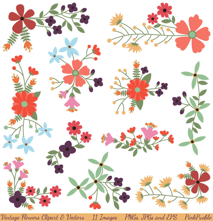 Floral clipart images vector free library Flower clipart | Etsy vector free library