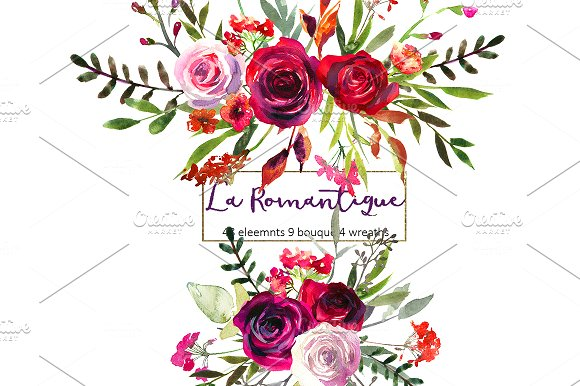 Floral clipart images black and white Burgundy Red Pink Flowers Clipart ~ Illustrations on Creative Market black and white