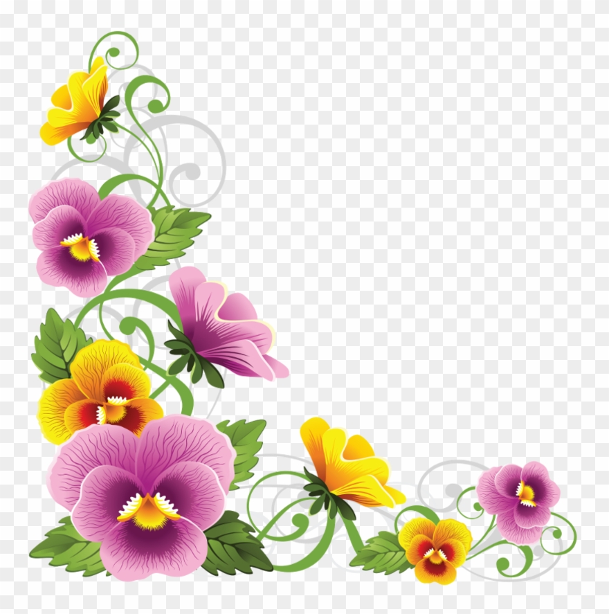 Pansy border clipart picture freeuse library Corner Border, Decoupage, Flower Art, Beautiful Flowers, - Flower ... picture freeuse library