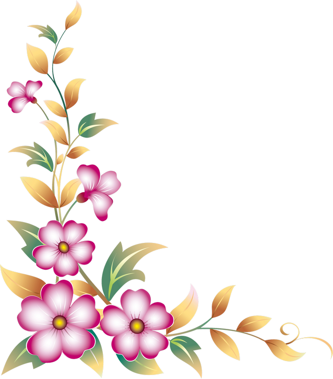 Hd daisy flower side. Floral corner borders clipart
