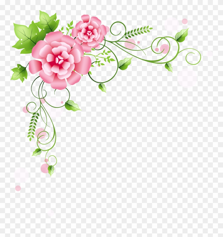 Decoration png picture pink. Floral corner clipart