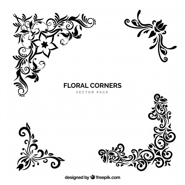 Floral corner clipart. Vector corners free download