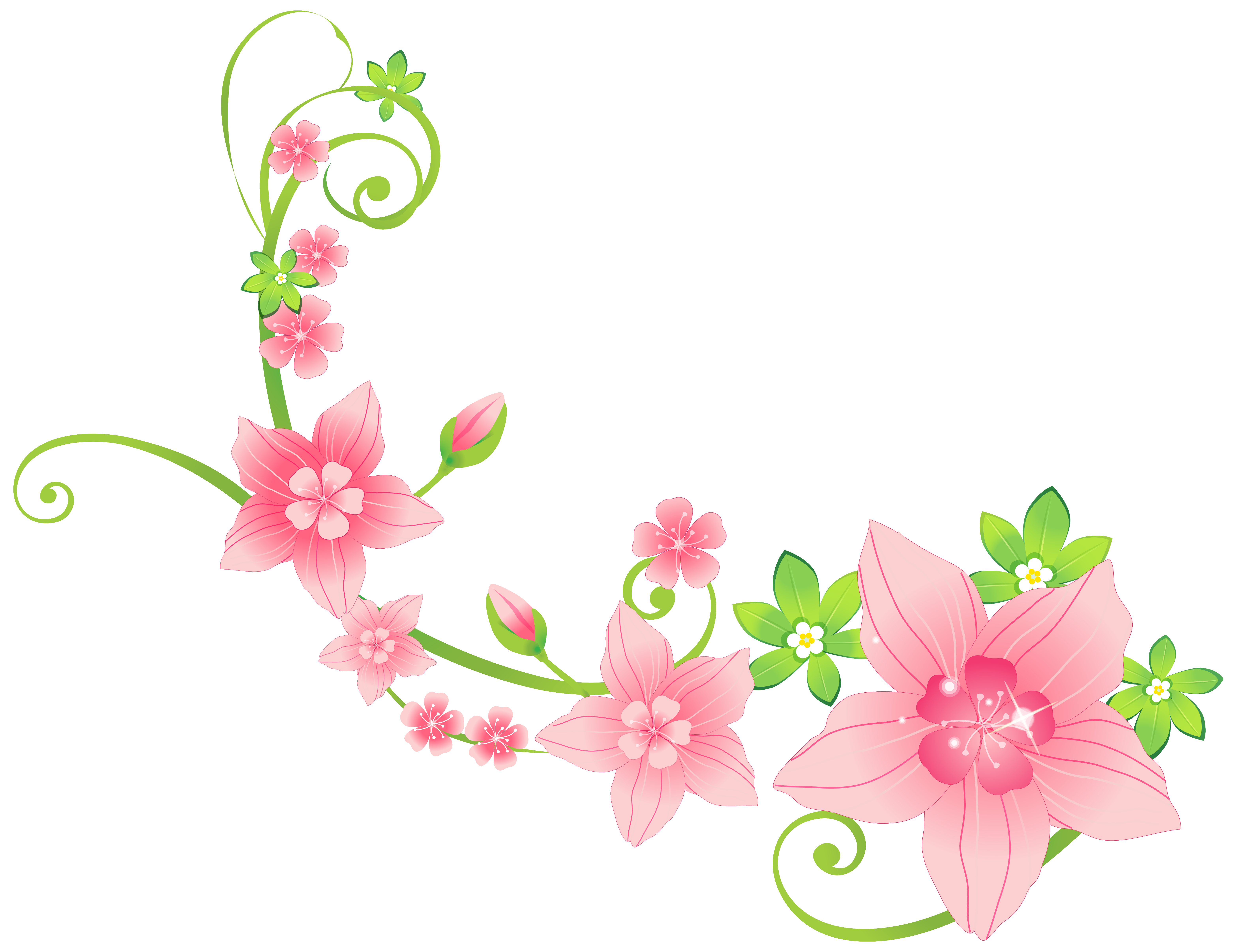 Floral decoration clipart graphic royalty free download Pink Floral Decoration PNG Clip-Art Image | Gallery Yopriceville ... graphic royalty free download