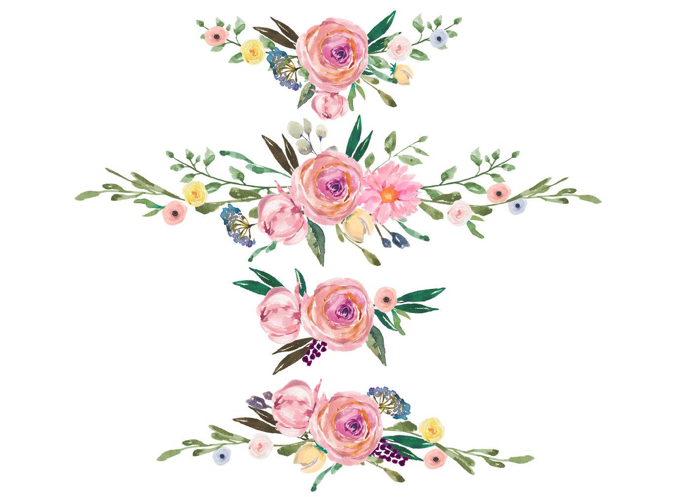 Watercolor arrangements rustic flowers. Floral decoration clipart