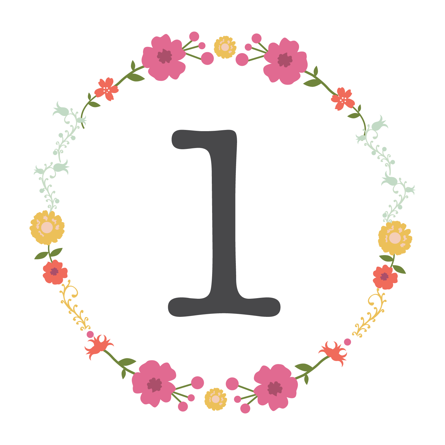 Floral designs of the number zero transluscent clipart clip royalty free library Free Floral Printable Table Number | Freebies & Free Printables ... clip royalty free library