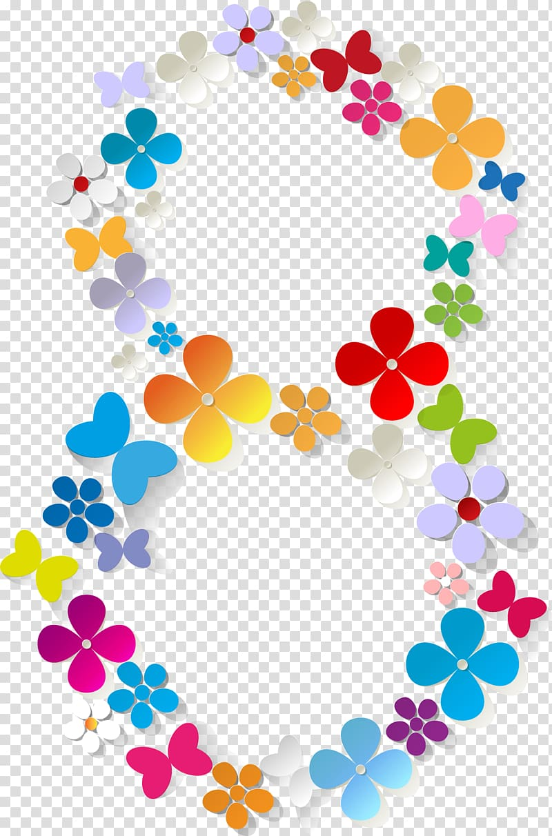 Floral designs of the number zero transluscent clipart graphic royalty free March 8 International Womens Day, number 8 transparent background ... graphic royalty free
