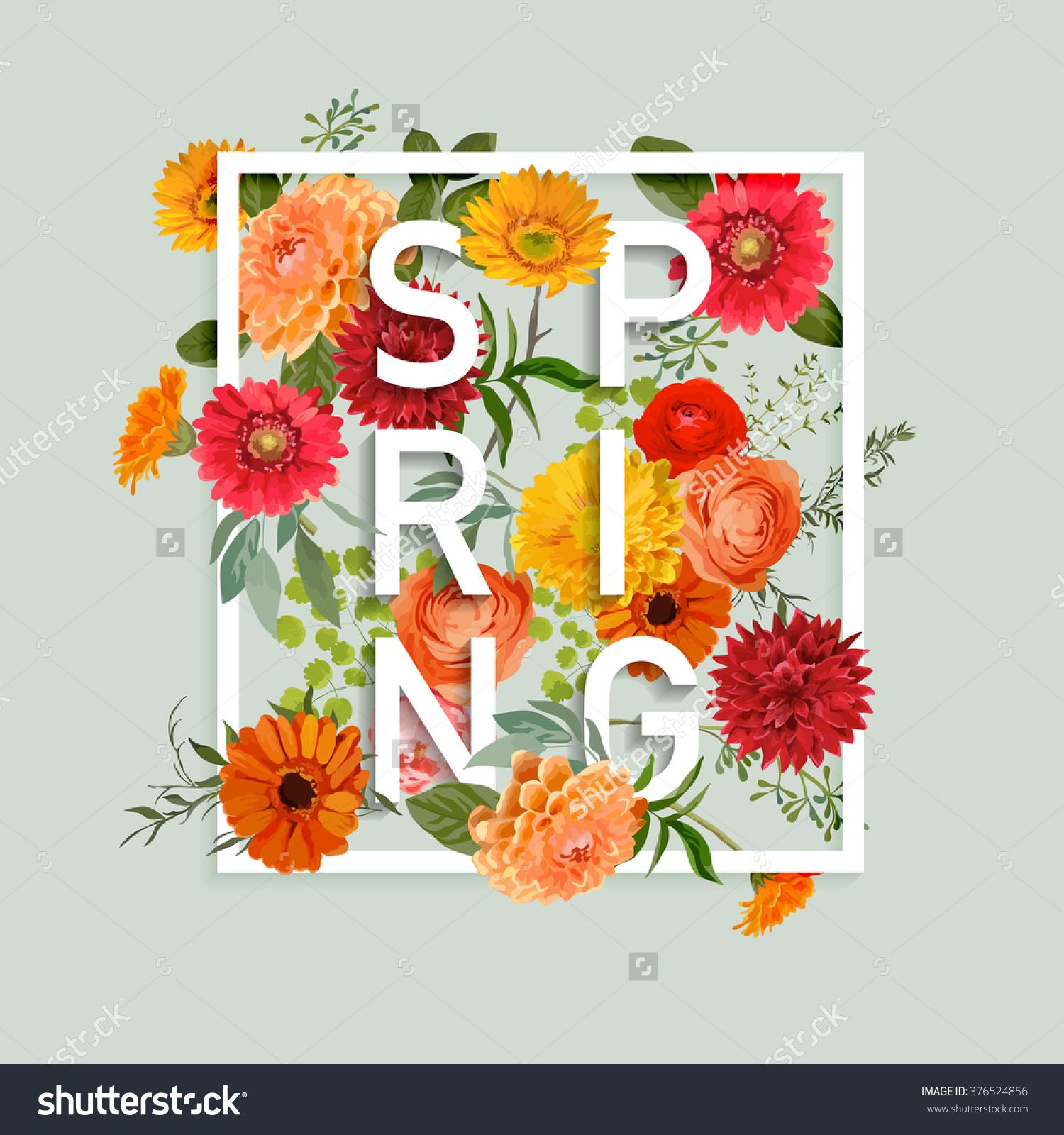 Floral graphic designs banner transparent Floral Spring Graphic Design Colorful Flowers Stock Vector ... banner transparent