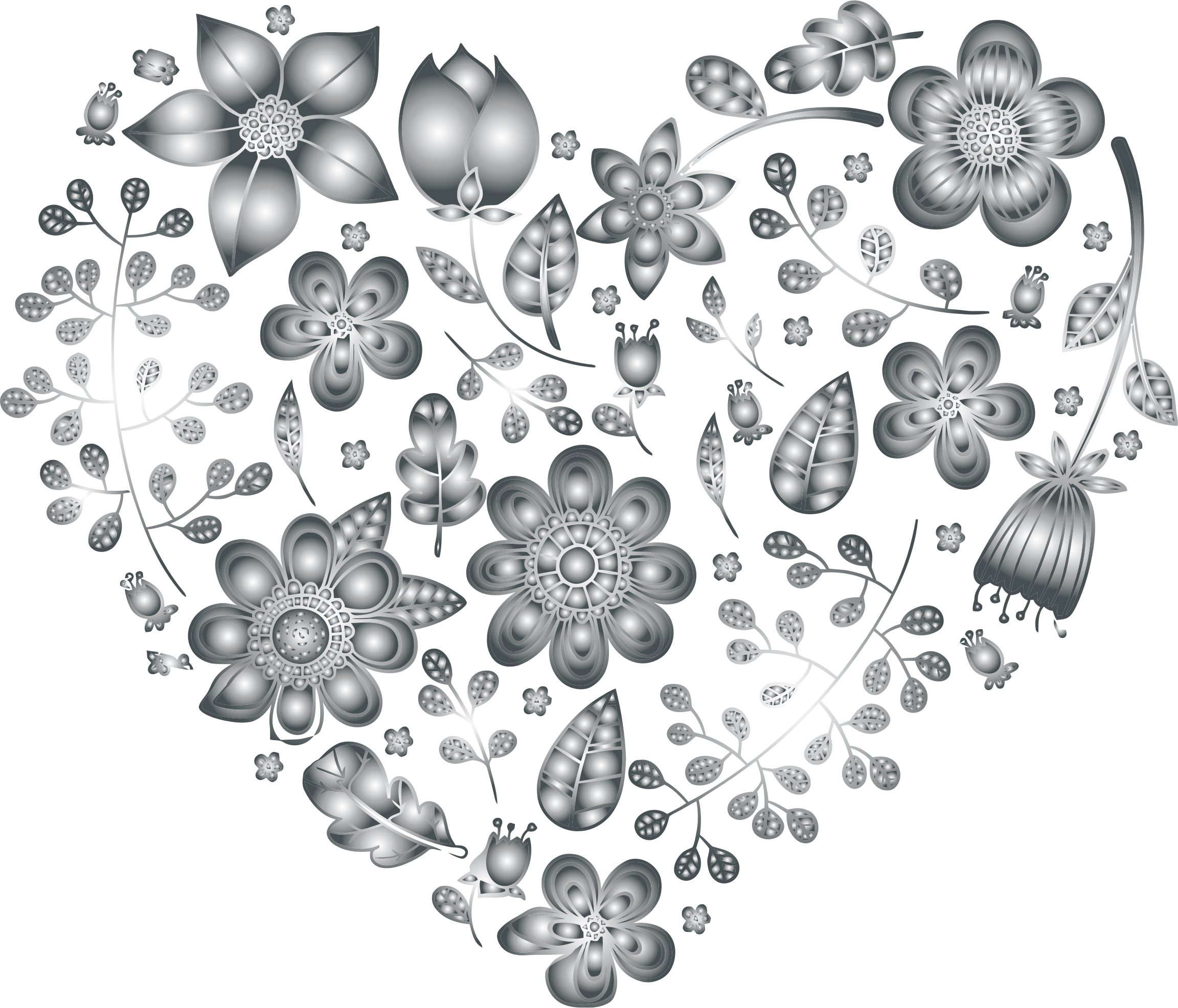 Floral heart clipart picture library stock Clipart - Grayscale Floral Heart 3 No Background picture library stock