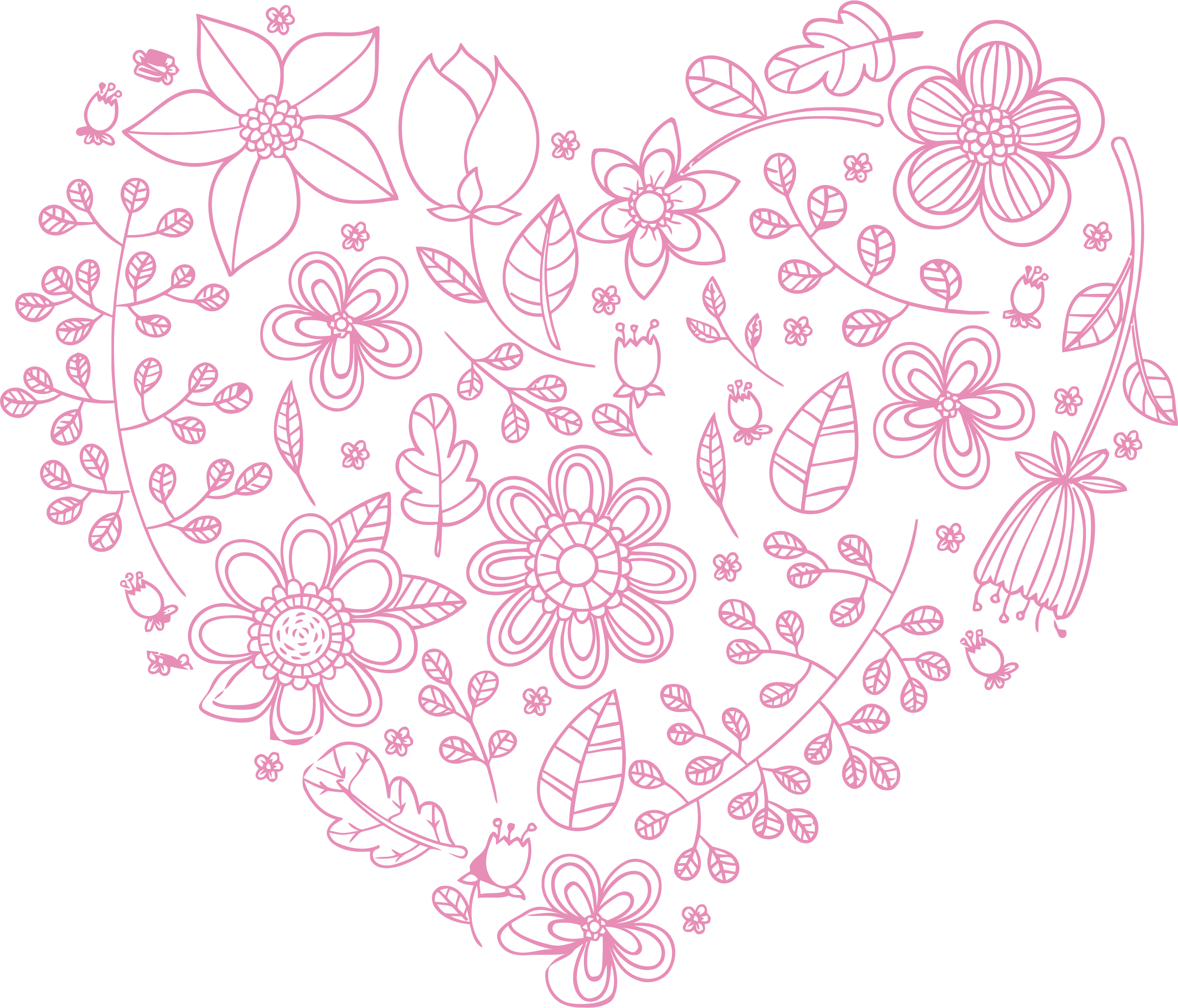 Floral heart clipart svg royalty free stock Clipart - Pink Floral Heart svg royalty free stock