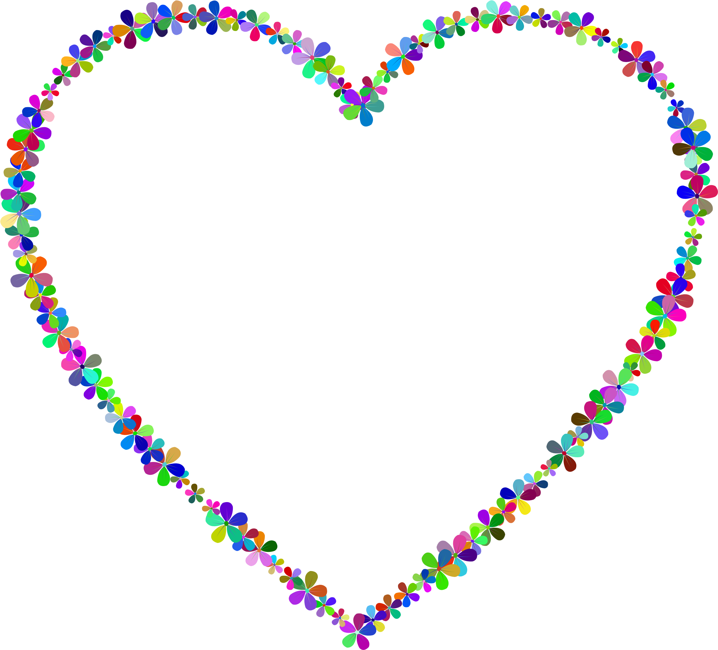 Heart clipart outline clipart library download Clipart - Prismatic Floral Heart Outline clipart library download