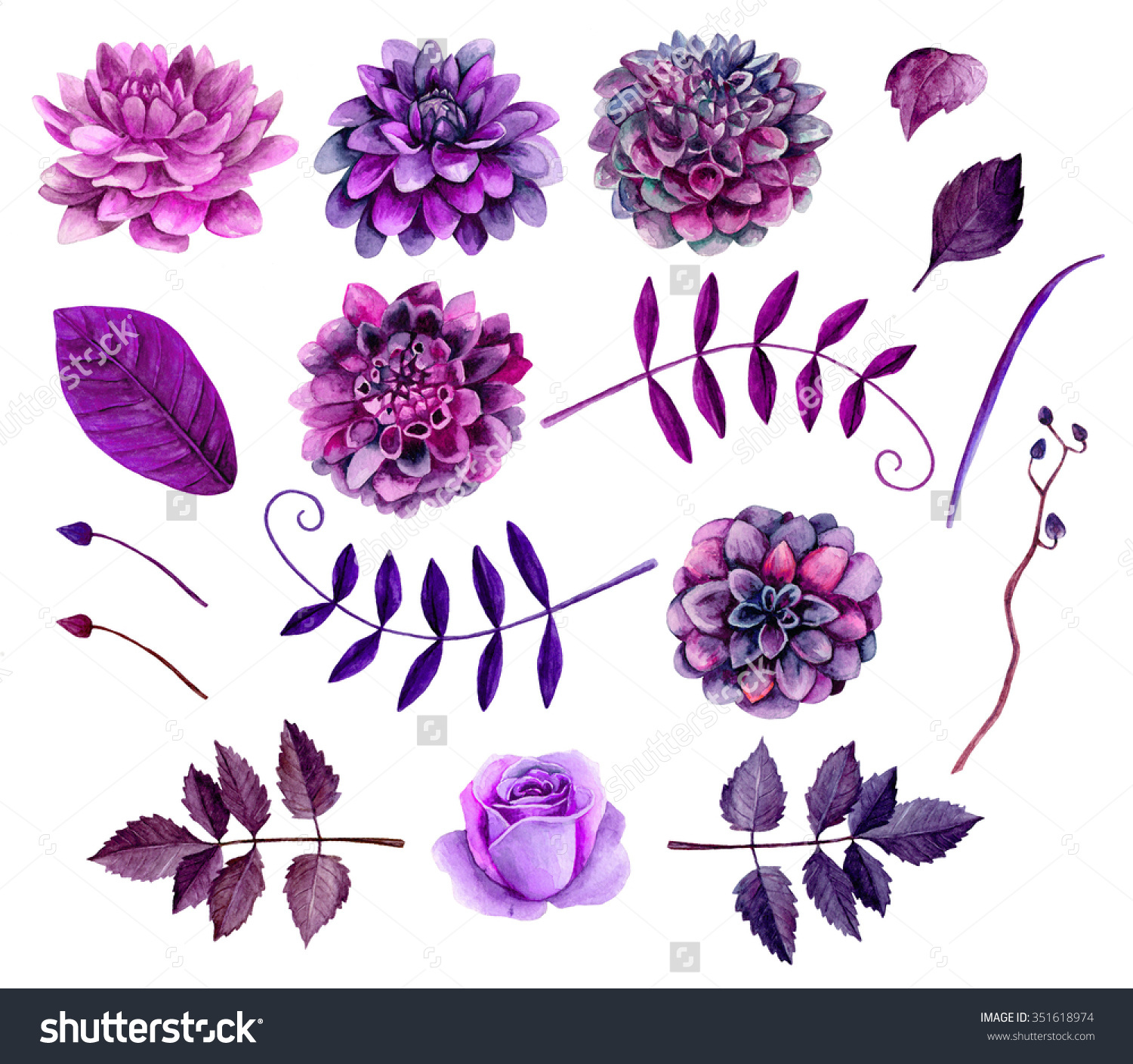 Floral images clipart vector black and white Watercolor Purple Flowers Clipart Floral Clip Stock Illustration ... vector black and white