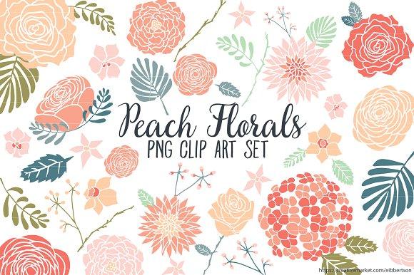 Floral images clipart clip art freeuse Peach Floral Clipart Flower Clip Art ~ Illustrations on Creative ... clip art freeuse