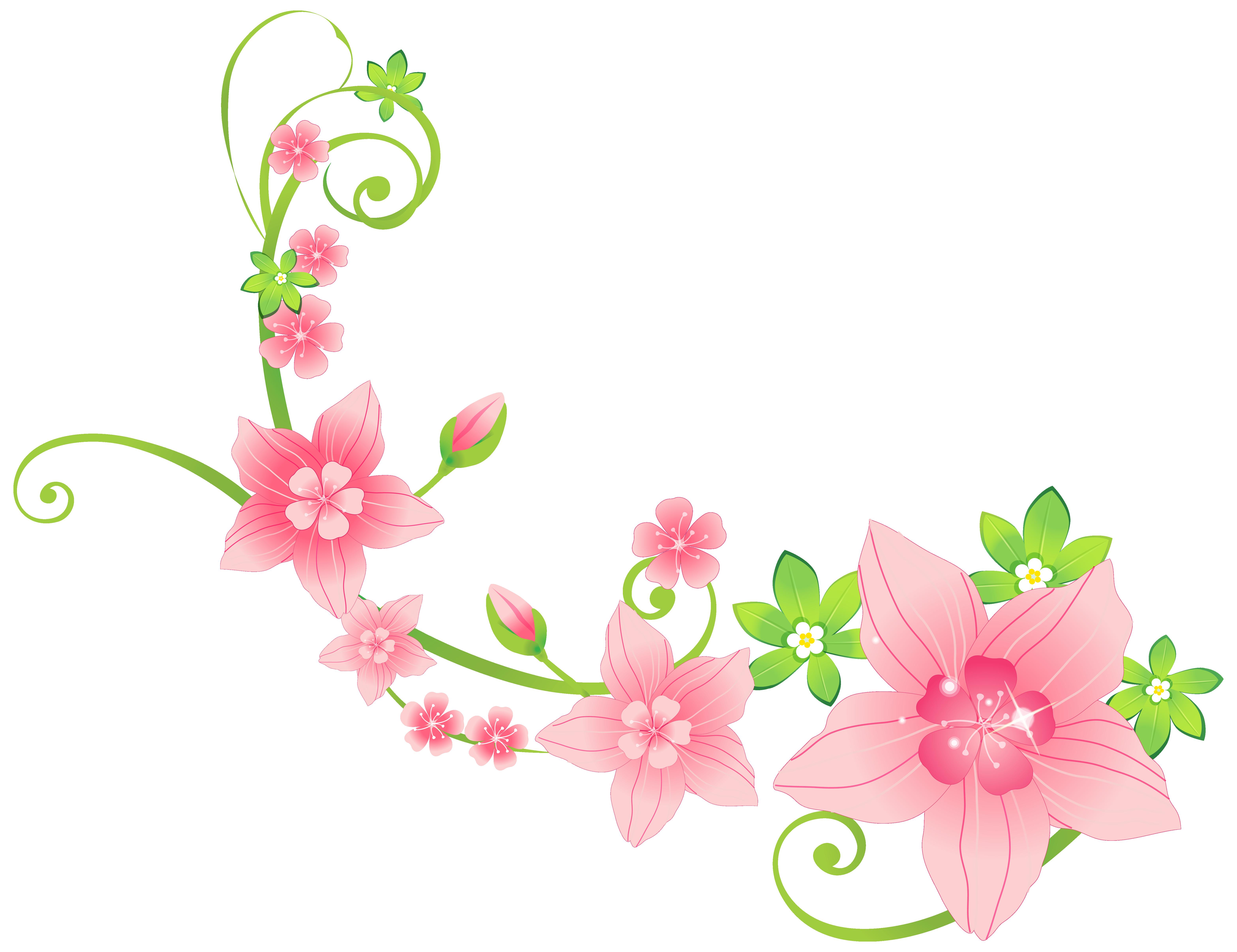 Floral images clipart jpg freeuse download Pink Floral Decoration PNG Clip-Art Image | Gallery Yopriceville ... jpg freeuse download