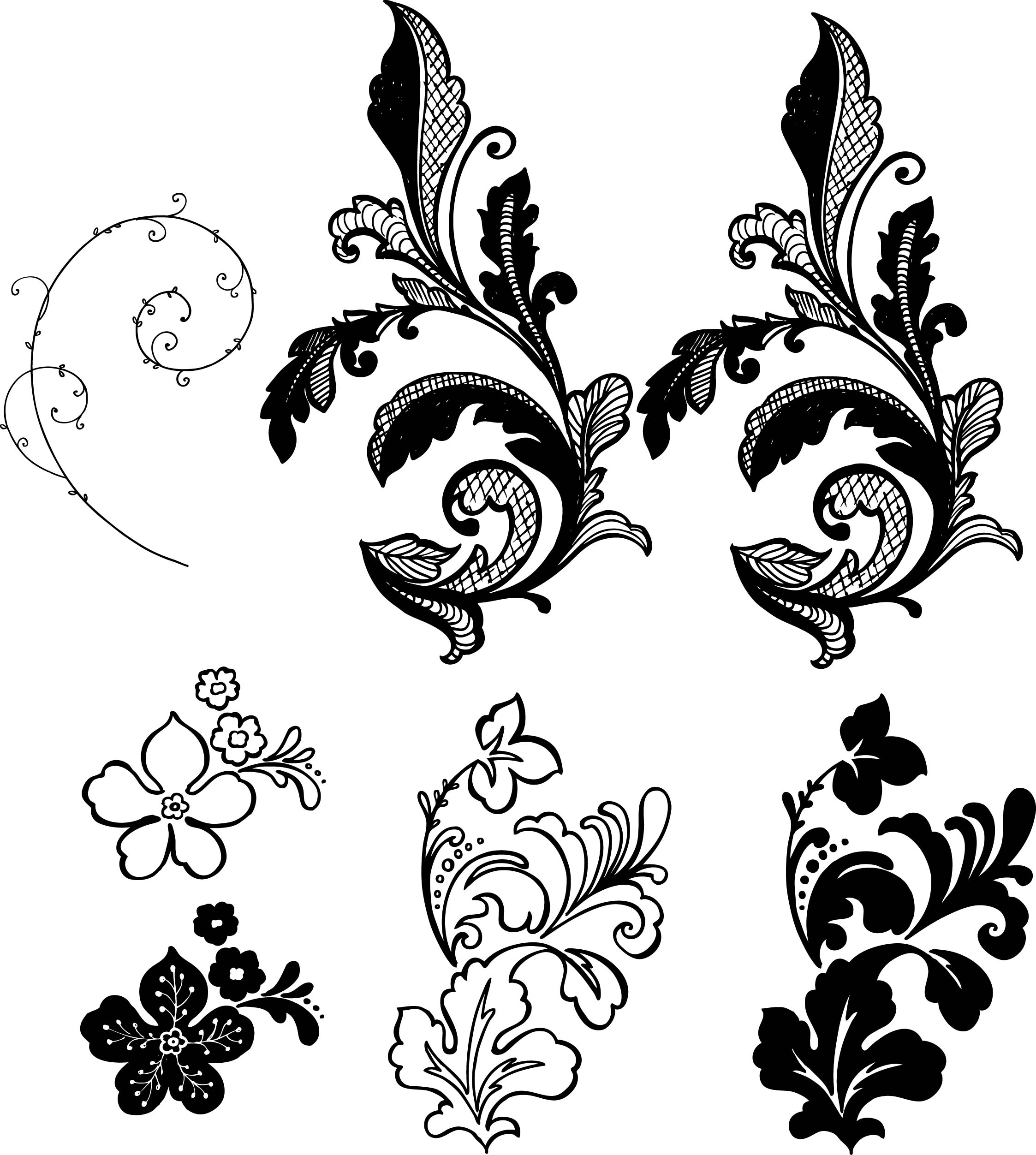 Floral motif clipart clip art black and white stock Free Flower Vector, Download Free Clip Art, Free Clip Art on Clipart ... clip art black and white stock